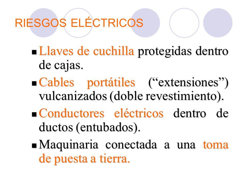 RIESGOS ELÉCTRICOS Llaves de cuchilla protegidas dentro de cajas. Llaves de cuchilla protegidas dentro de cajas. Cables portátiles (extensiones) vulca
