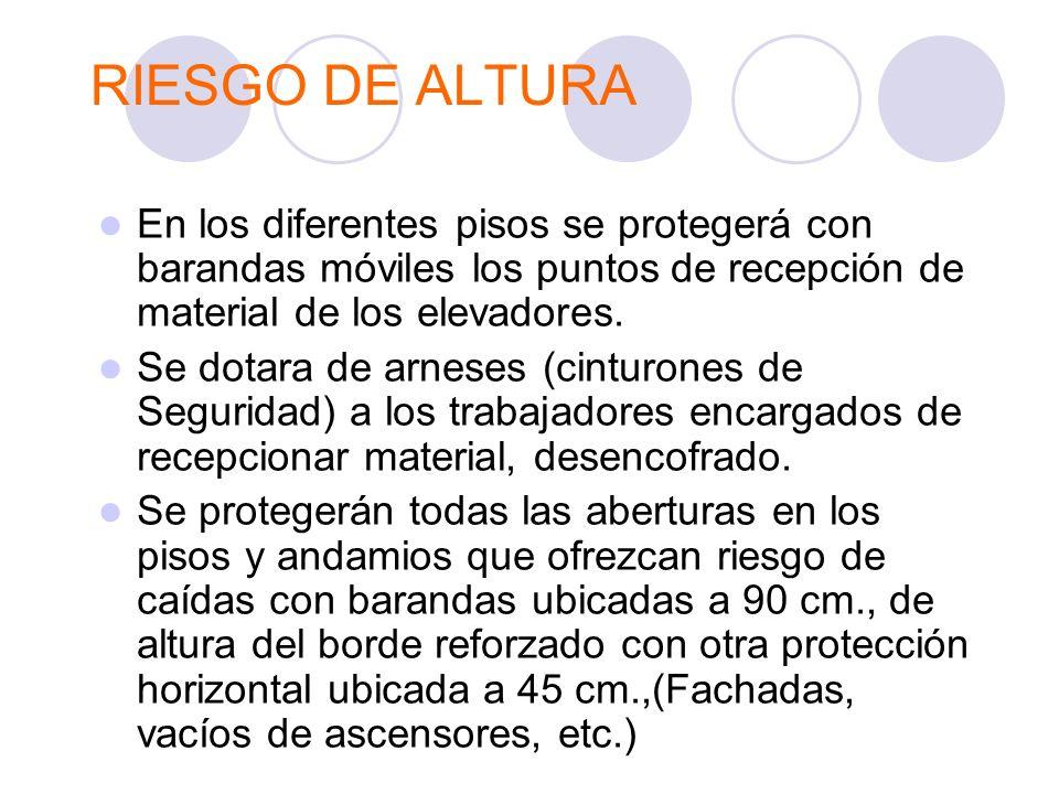 RIESGO DE ALTURA En los diferentes pisos se protegerá con barandas móviles los puntos de recepción de material de los elevadores. Se dotara de arneses