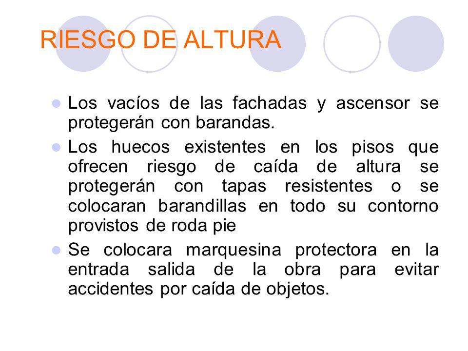 RIESGO DE ALTURA Los vacíos de las fachadas y ascensor se protegerán con barandas. Los huecos existentes en los pisos que ofrecen riesgo de caída de a