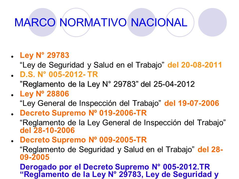 MARCO NORMATIVO NACIONAL Ley N° 29783 Ley de Seguridad y Salud en el Trabajo del 20-08-2011 D.S. N° 005-2012- TR Reglamento de la Ley N° 29783 del 25-