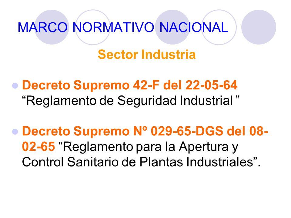 MARCO NORMATIVO NACIONAL Sector Industria Decreto Supremo 42-F del 22-05-64 Reglamento de Seguridad Industrial Decreto Supremo Nº 029-65-DGS del 08- 0