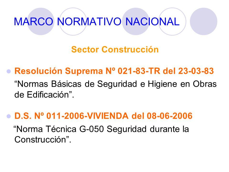 MARCO NORMATIVO NACIONAL Sector Construcción Resolución Suprema Nº 021-83-TR del 23-03-83 Normas Básicas de Seguridad e Higiene en Obras de Edificació