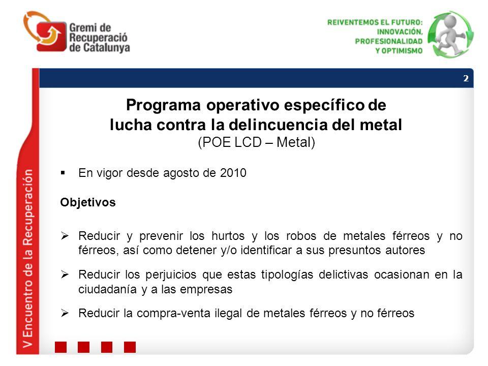 Programa operativo específico de lucha contra la delincuencia del metal (POE LCD – Metal) En vigor desde agosto de 2010 Objetivos Reducir y prevenir l