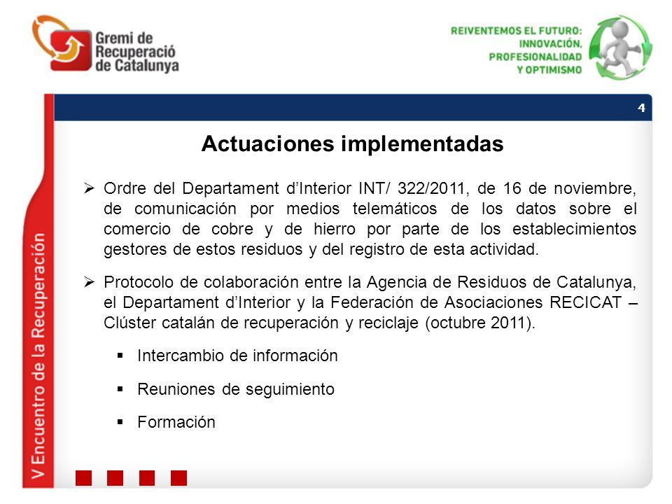 Ordre del Departament dInterior INT/ 322/2011, de 16 de noviembre, de comunicación por medios telemáticos de los datos sobre el comercio de cobre y de