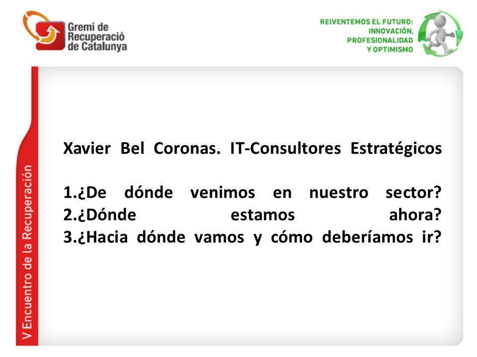 Xavier Bel Coronas. IT-Consultores Estratégicos 1.¿De dónde venimos en nuestro sector? 2.¿Dónde estamos ahora? 3.¿Hacia dónde vamos y cómo deberíamos
