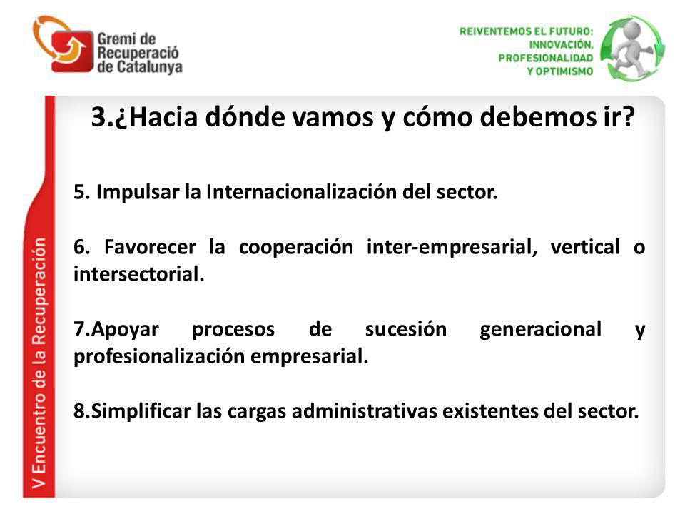 3.¿Hacia dónde vamos y cómo debemos ir? 5. Impulsar la Internacionalización del sector. 6. Favorecer la cooperación inter-empresarial, vertical o inte