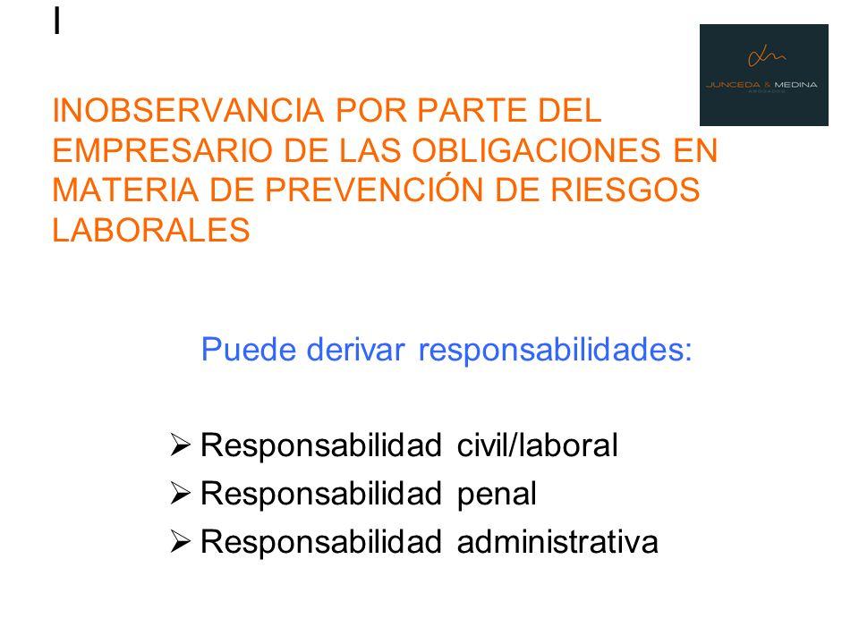 I INOBSERVANCIA POR PARTE DEL EMPRESARIO DE LAS OBLIGACIONES EN MATERIA DE PREVENCIÓN DE RIESGOS LABORALES Puede derivar responsabilidades: Responsabi
