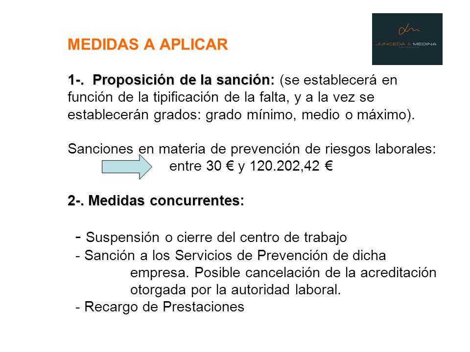 1-. Proposición de la sanción 2-. Medidas concurrentes MEDIDAS A APLICAR 1-. Proposición de la sanción: (se establecerá en función de la tipificación
