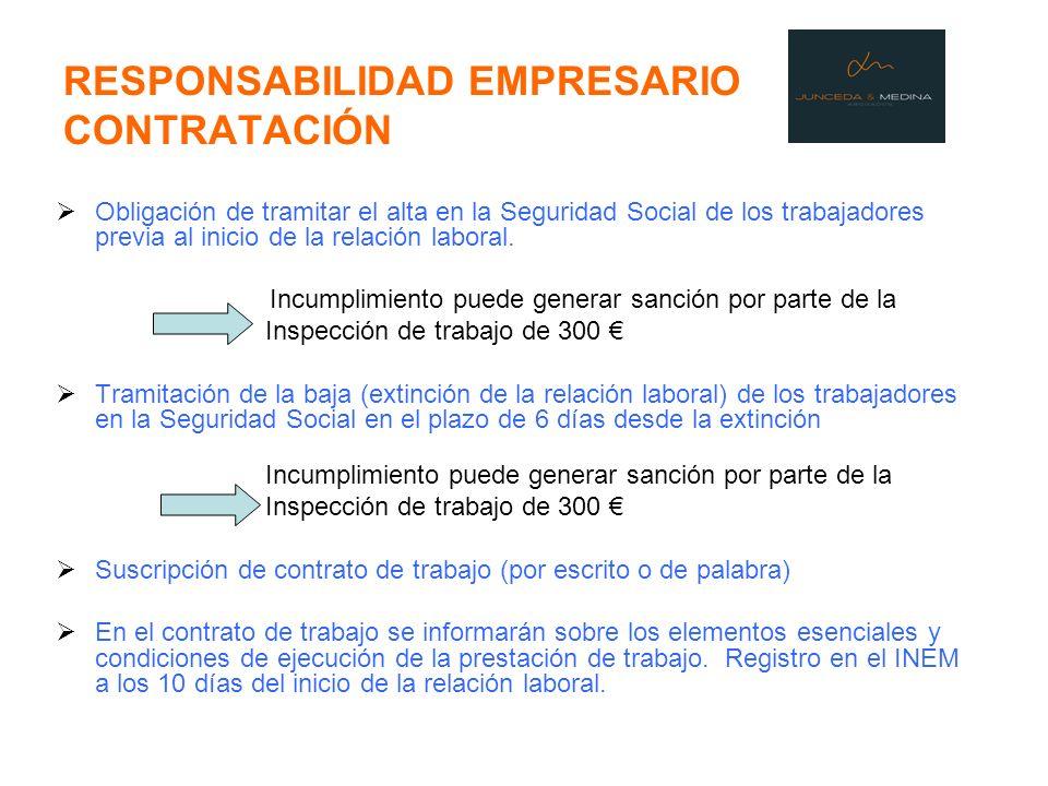 RESPONSABILIDAD EMPRESARIO CONTRATACIÓN Obligación de tramitar el alta en la Seguridad Social de los trabajadores previa al inicio de la relación labo