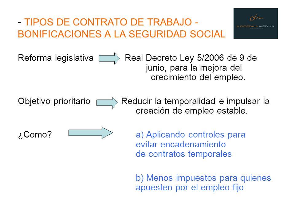 - TIPOS DE CONTRATO DE TRABAJO - BONIFICACIONES A LA SEGURIDAD SOCIAL Reforma legislativa Real Decreto Ley 5/2006 de 9 de junio, para la mejora del cr