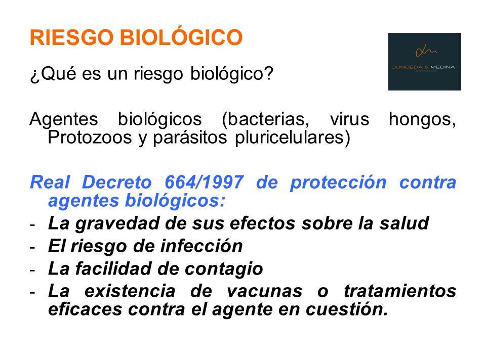 RIESGO BIOLÓGICO ¿Qué es un riesgo biológico? Agentes biológicos (bacterias, virus hongos, Protozoos y parásitos pluricelulares) Real Decreto 664/1997