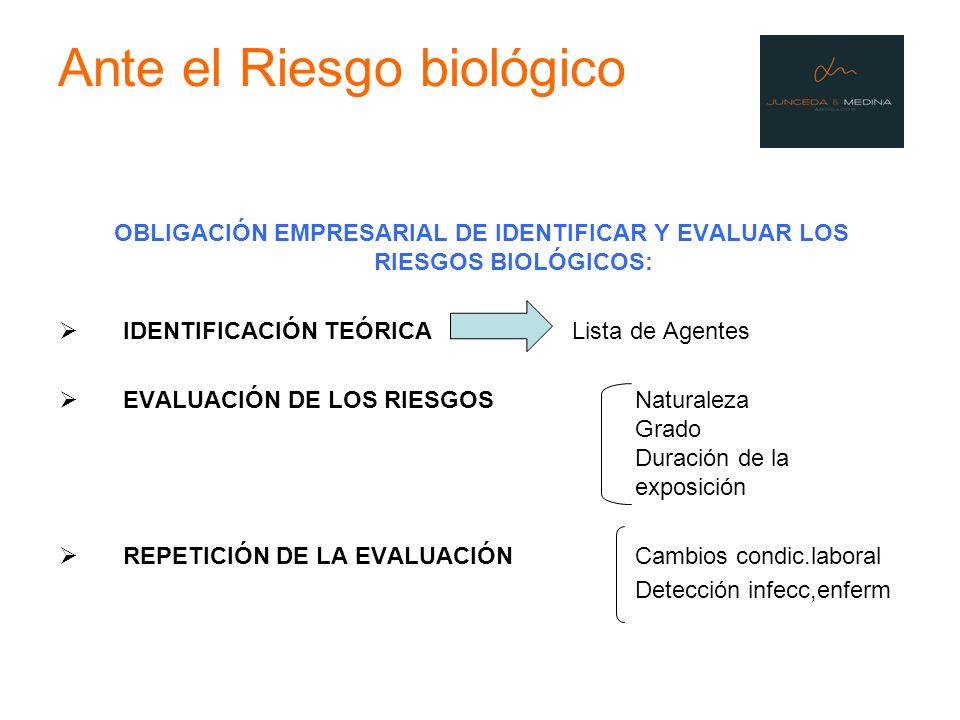 Ante el Riesgo biológico OBLIGACIÓN EMPRESARIAL DE IDENTIFICAR Y EVALUAR LOS RIESGOS BIOLÓGICOS: IDENTIFICACIÓN TEÓRICA Lista de Agentes EVALUACIÓN DE