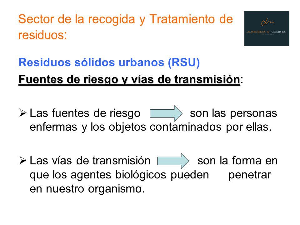 Sector de la recogida y Tratamiento de residuos : Residuos sólidos urbanos (RSU) Fuentes de riesgo y vías de transmisión Fuentes de riesgo y vías de t