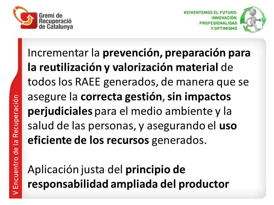 Incrementar la prevención, preparación para la reutilización y valorización material de todos los RAEE generados, de manera que se asegure la correcta