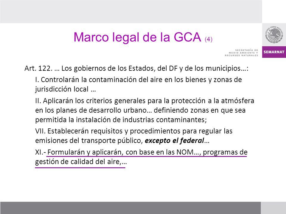 Marco legal de la GCA (4) Art. 122. … Los gobiernos de los Estados, del DF y de los municipios…: I. Controlarán la contaminación del aire en los biene