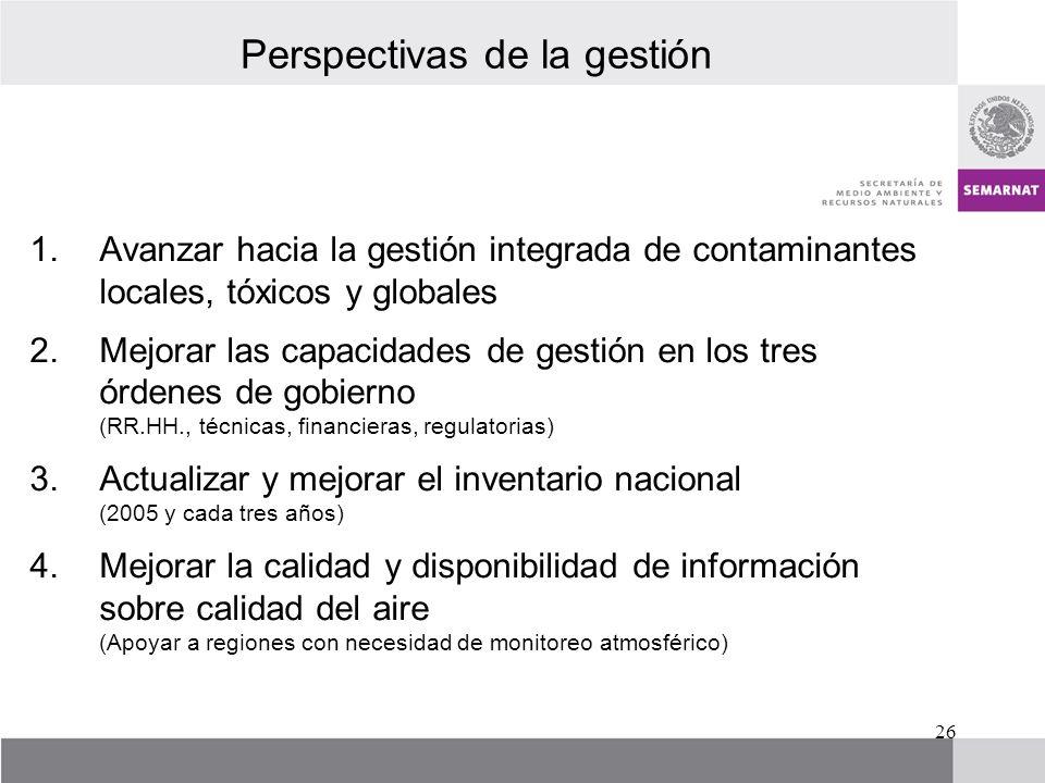 Perspectivas de la gestión 1.Avanzar hacia la gestión integrada de contaminantes locales, tóxicos y globales 2.Mejorar las capacidades de gestión en l