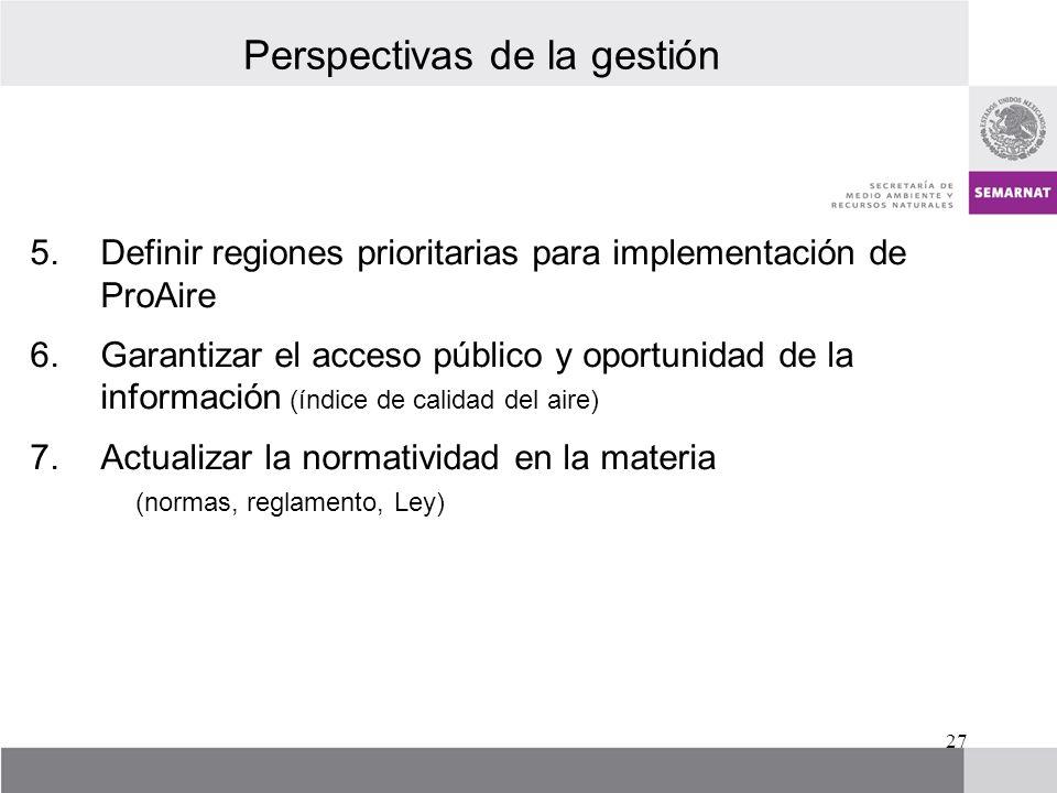 Perspectivas de la gestión 5.Definir regiones prioritarias para implementación de ProAire 6.Garantizar el acceso público y oportunidad de la informaci