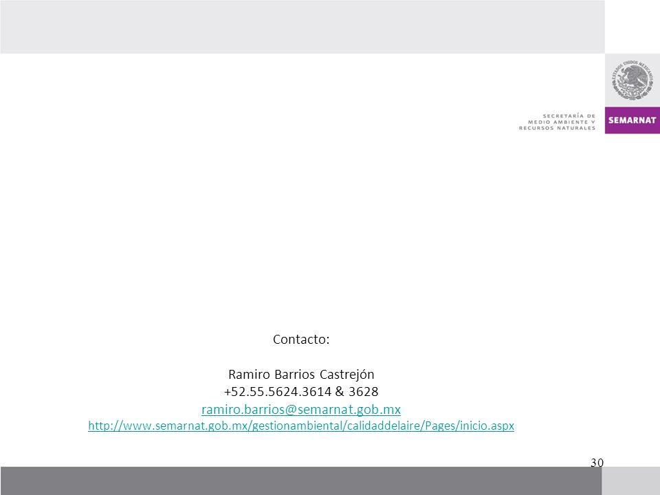 Contacto: Ramiro Barrios Castrejón +52.55.5624.3614 & 3628 ramiro.barrios@semarnat.gob.mx http://www.semarnat.gob.mx/gestionambiental/calidaddelaire/P