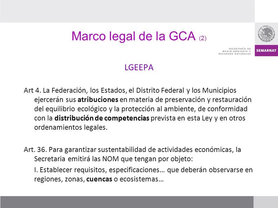 Marco legal de la GCA (2) LGEEPA distribución de competencias Art 4. La Federación, los Estados, el Distrito Federal y los Municipios ejercerán sus at