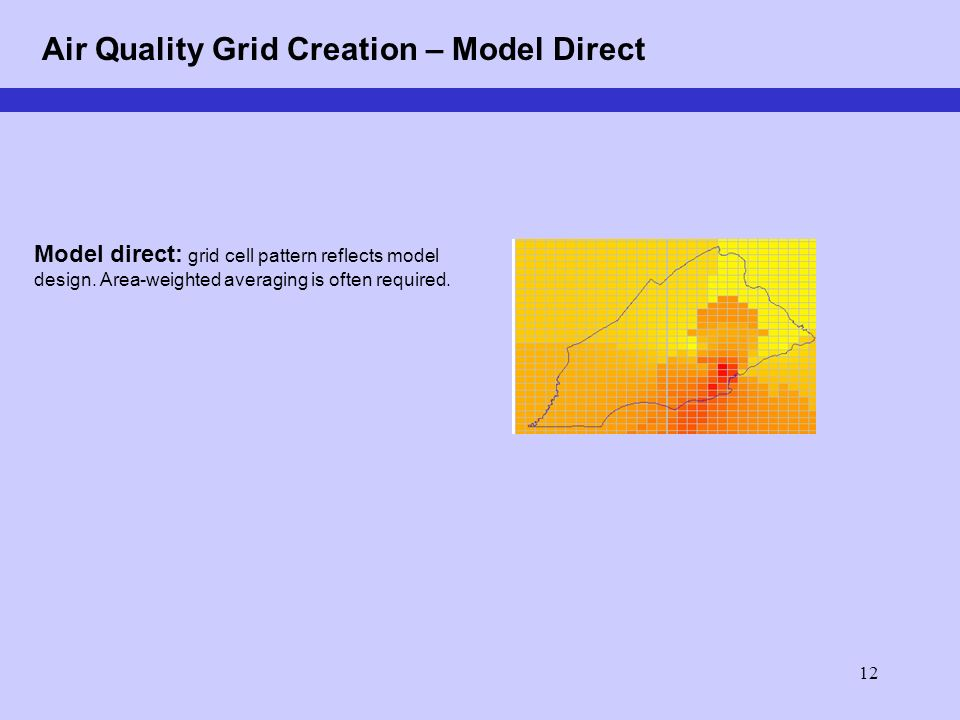 12 Air Quality Grid Creation – Model Direct Model direct: grid cell pattern reflects model design.