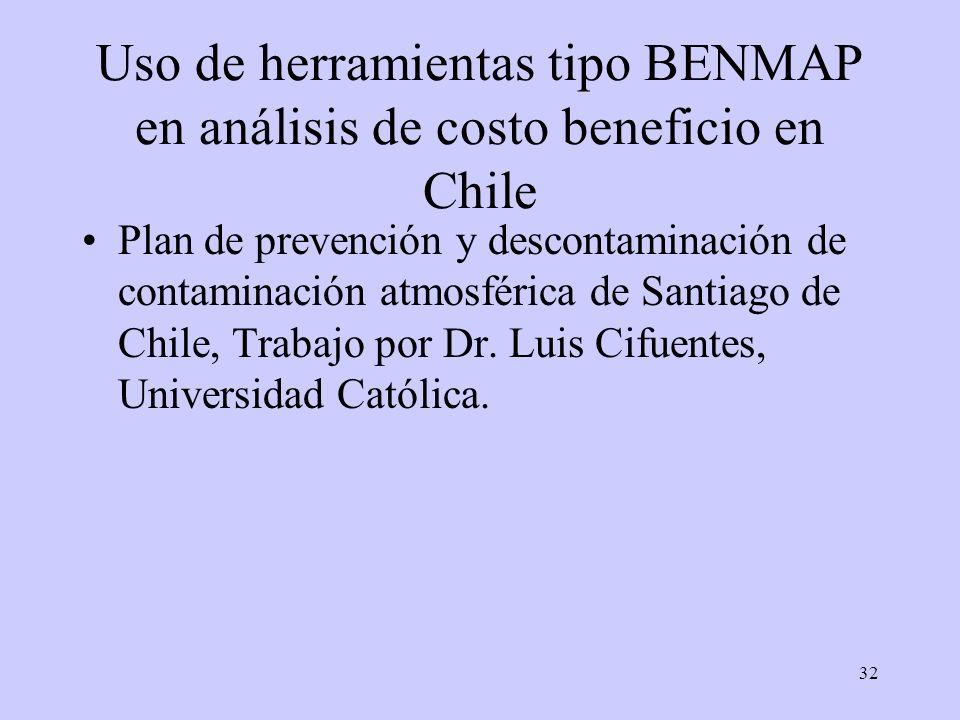 32 Uso de herramientas tipo BENMAP en análisis de costo beneficio en Chile Plan de prevención y descontaminación de contaminación atmosférica de Santi