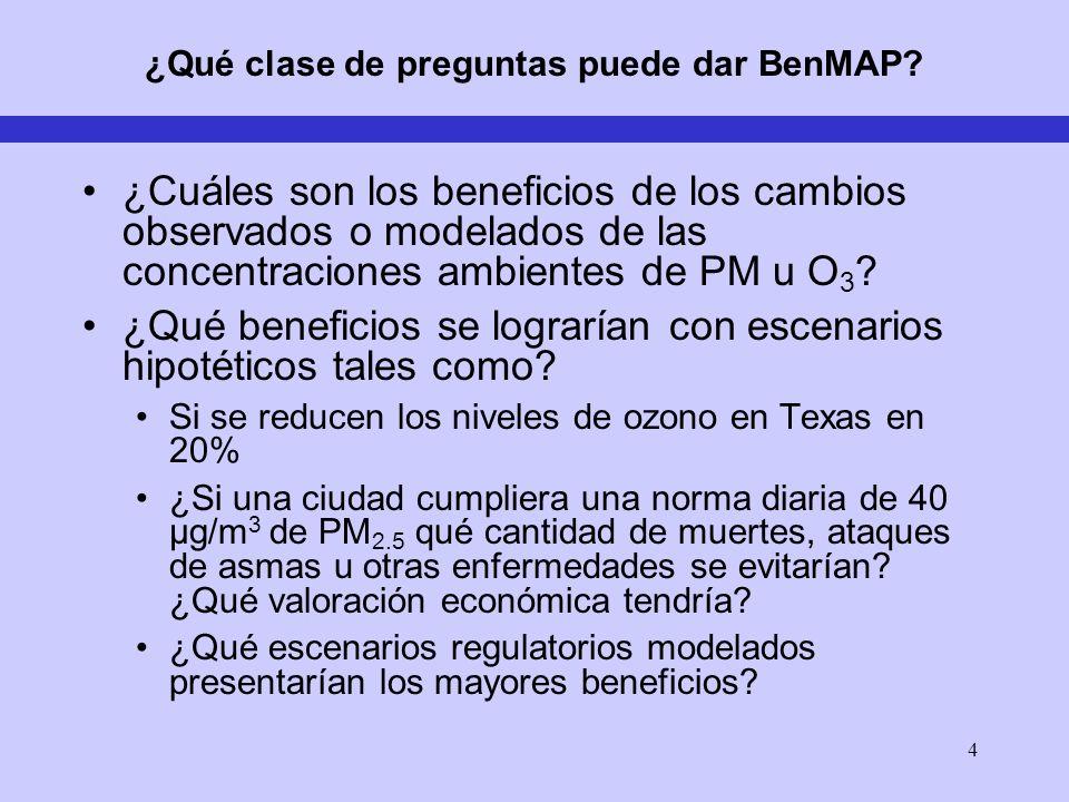 4 ¿Qué clase de preguntas puede dar BenMAP? ¿Cuáles son los beneficios de los cambios observados o modelados de las concentraciones ambientes de PM u