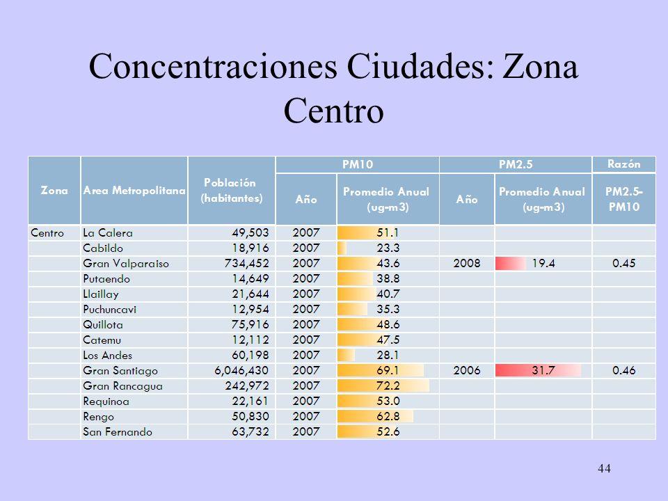 44 Concentraciones Ciudades: Zona Centro