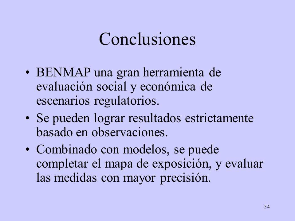 54 Conclusiones BENMAP una gran herramienta de evaluación social y económica de escenarios regulatorios. Se pueden lograr resultados estrictamente bas