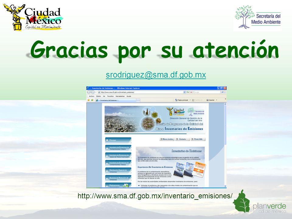 Gracias por su atención http://www.sma.df.gob.mx/inventario_emisiones/ srodriguez@sma.df.gob.mx