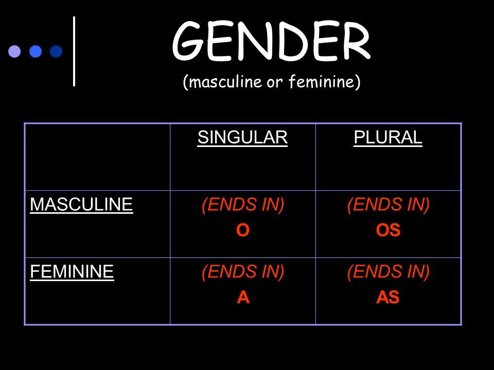 GENDER (masculine or feminine) SINGULARPLURAL MASCULINE(ENDS IN) O (ENDS IN) OS FEMININE(ENDS IN) A (ENDS IN) AS