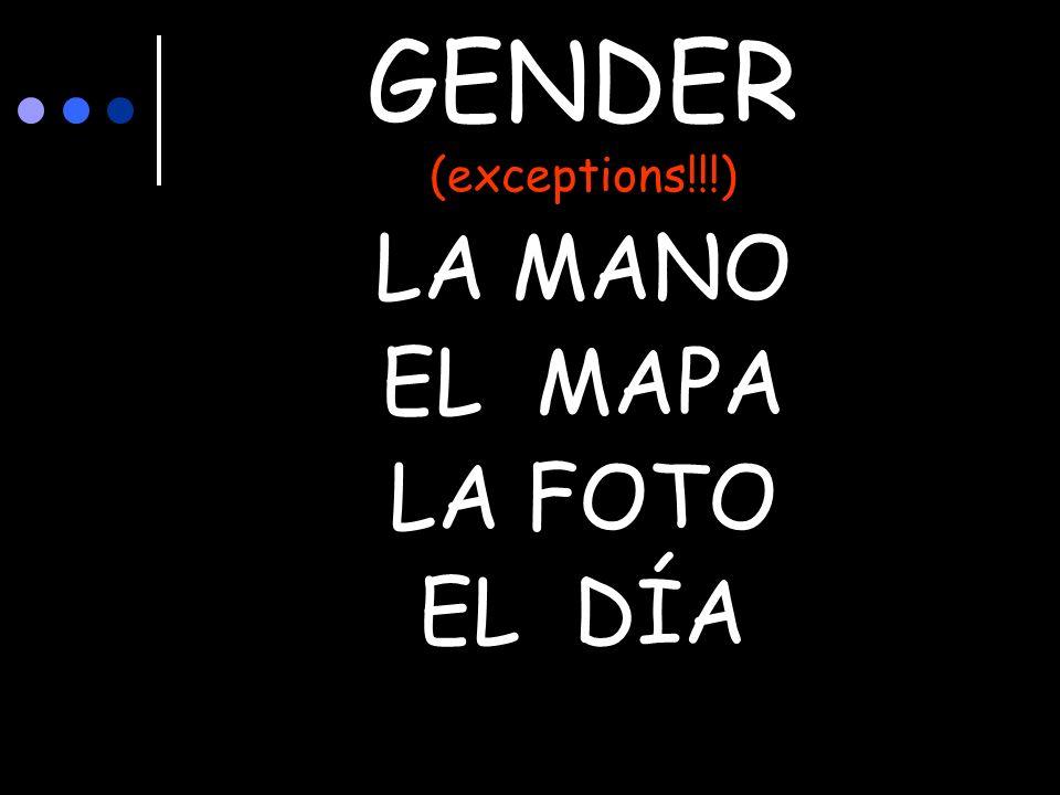 GENDER (exceptions!!!) LA MANO EL MAPA LA FOTO EL DÍA