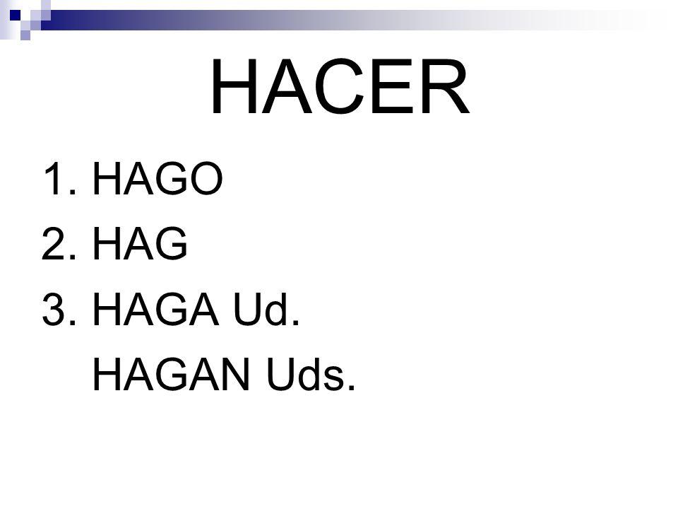 HACER 1. HAGO 2. HAG 3. HAGA Ud. HAGAN Uds.