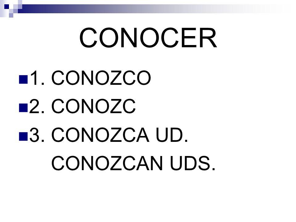 CONOCER 1. CONOZCO 2. CONOZC 3. CONOZCA UD. CONOZCAN UDS.