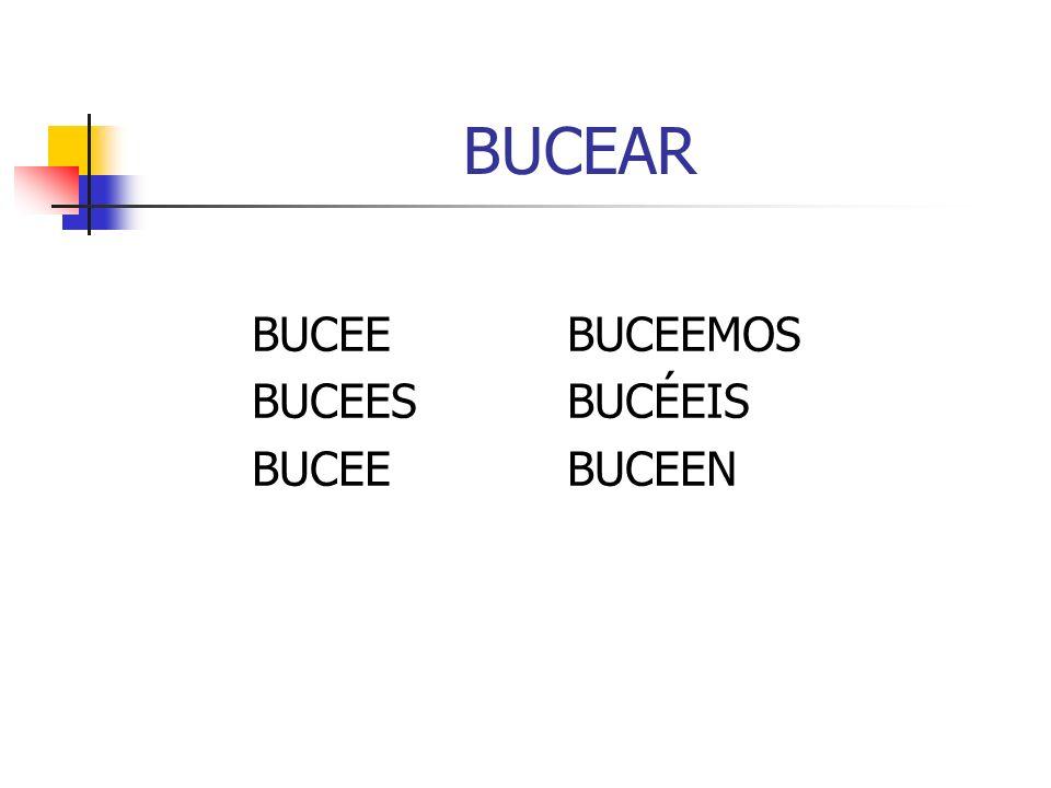 BUCEAR BUCEEBUCEEMOS BUCEESBUCÉEIS BUCEEBUCEEN