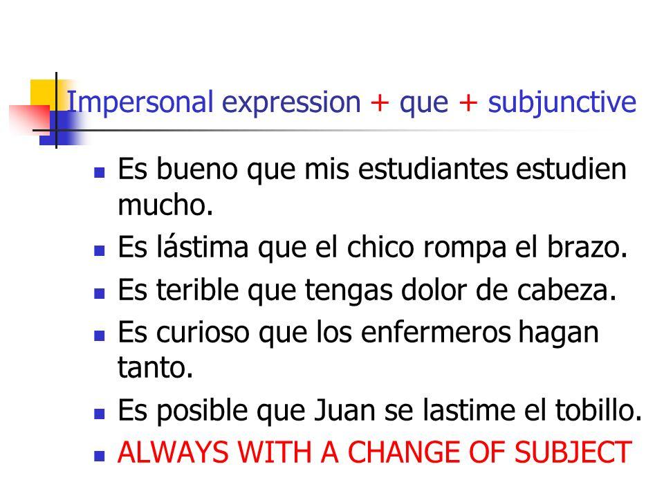 Impersonal expression + que + subjunctive Es bueno que mis estudiantes estudien mucho.