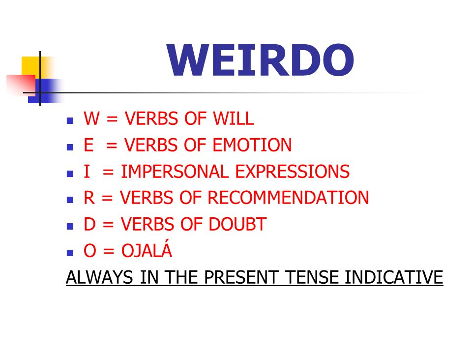 WEIRDO W = VERBS OF WILL E = VERBS OF EMOTION I = IMPERSONAL EXPRESSIONS R = VERBS OF RECOMMENDATION D = VERBS OF DOUBT O = OJALÁ ALWAYS IN THE PRESEN