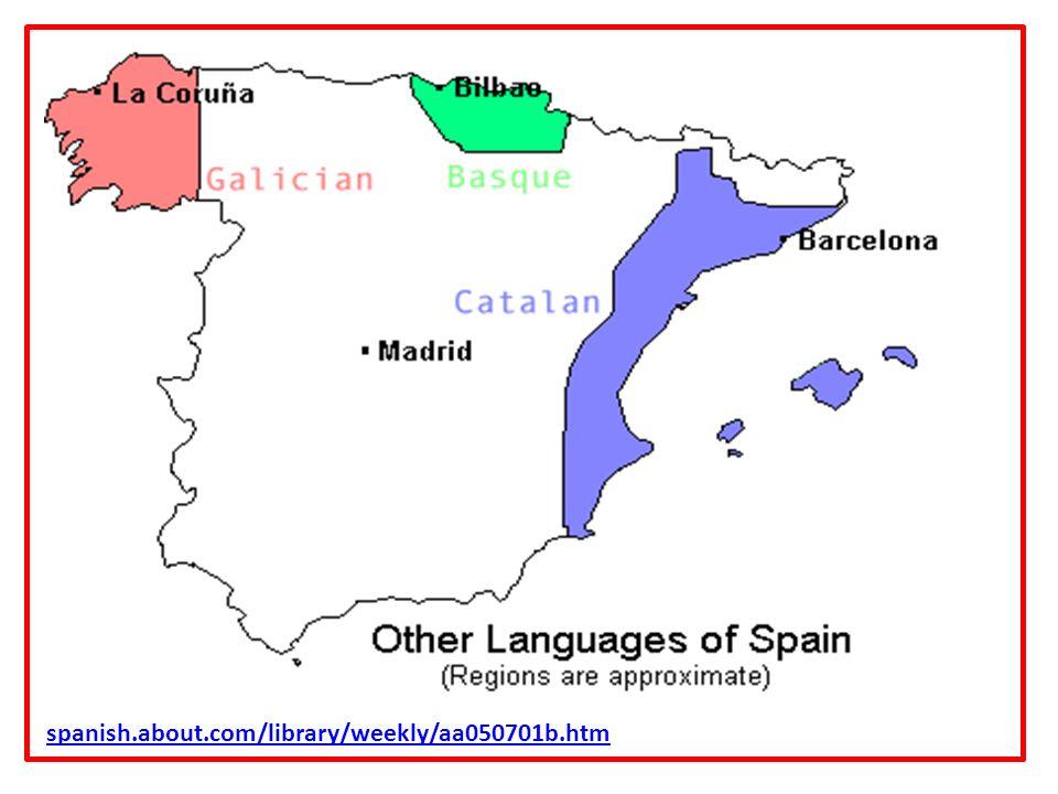 La geografía lingüística El vascuence (euskera) – se habla en el País Vasco, parte de Navarra y en una parte pequeña del sur de Francia.