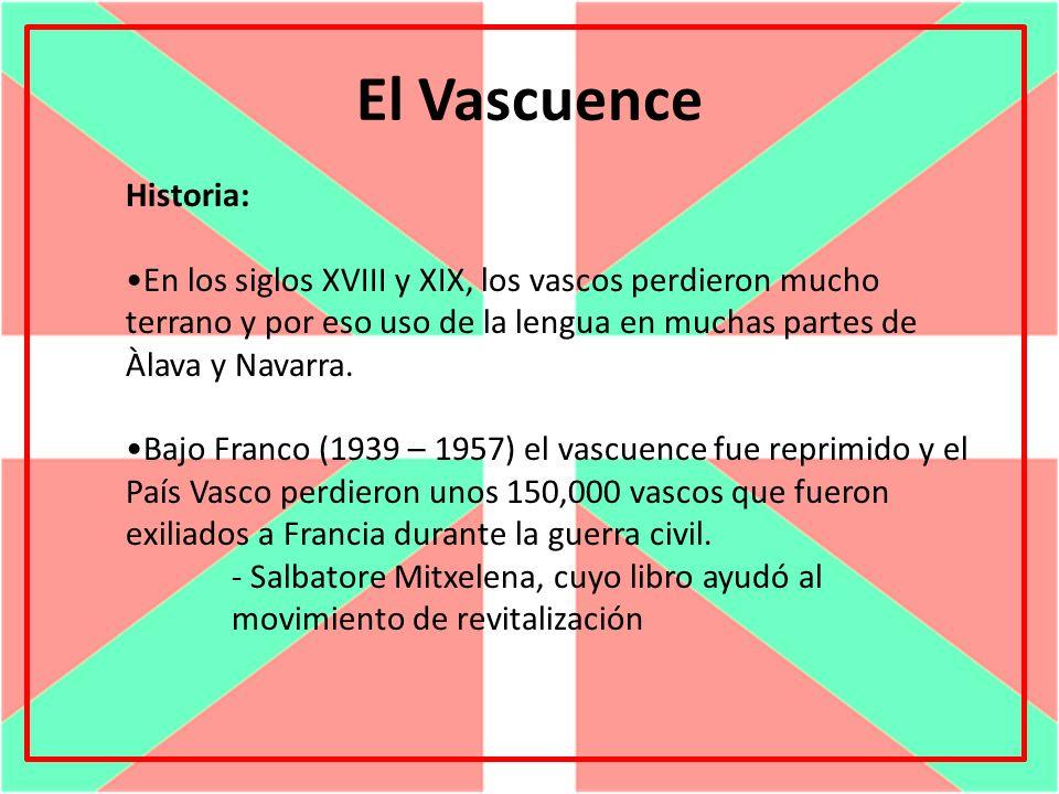 El Vascuence El uso actual: Se habla el vascuence en el País Vasco, parte de Navarra y en el sur de Francia.