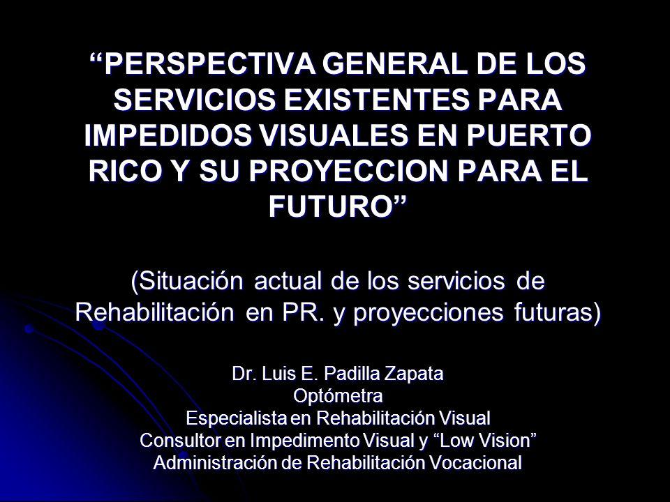 PERSPECTIVA GENERAL DE LOS SERVICIOS EXISTENTES PARA IMPEDIDOS VISUALES EN PUERTO RICO Y SU PROYECCION PARA EL FUTURO (Situación actual de los servicios de Rehabilitación en PR.