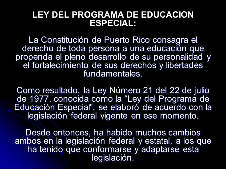 La Constitución de Puerto Rico consagra el derecho de toda persona a una educación que propenda el pleno desarrollo de su personalidad y el fortalecimiento de sus derechos y libertades fundamentales.
