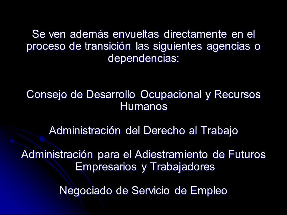 Se ven además envueltas directamente en el proceso de transición las siguientes agencias o dependencias: Consejo de Desarrollo Ocupacional y Recursos Humanos Administración del Derecho al Trabajo Administración para el Adiestramiento de Futuros Empresarios y Trabajadores Negociado de Servicio de Empleo