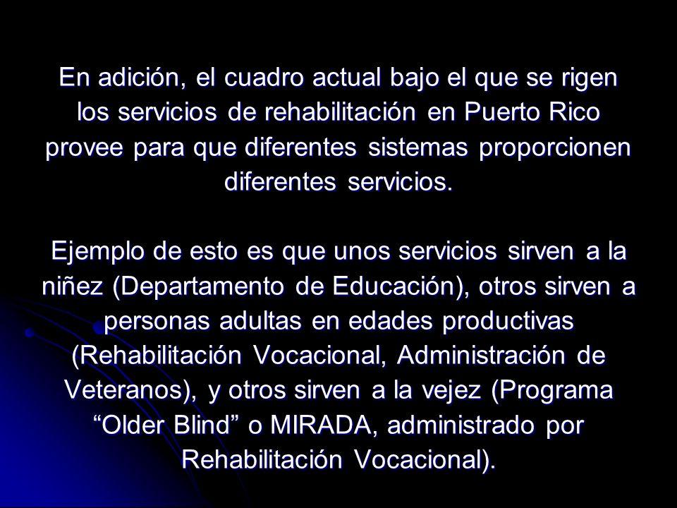 En adición, el cuadro actual bajo el que se rigen los servicios de rehabilitación en Puerto Rico provee para que diferentes sistemas proporcionen diferentes servicios.