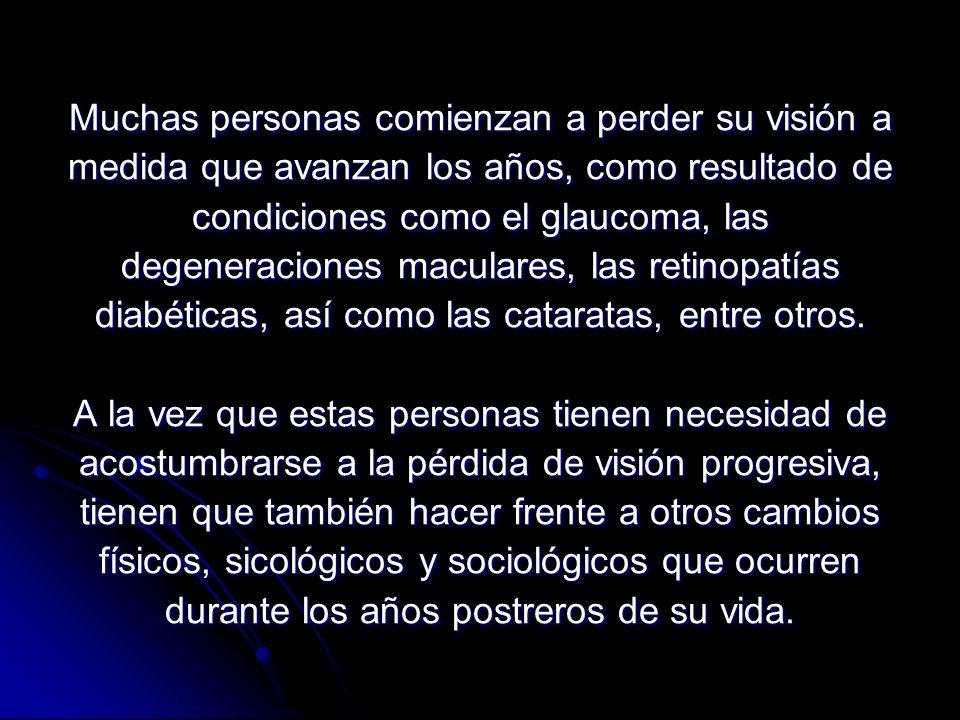 Muchas personas comienzan a perder su visión a medida que avanzan los años, como resultado de condiciones como el glaucoma, las degeneraciones maculares, las retinopatías diabéticas, así como las cataratas, entre otros.