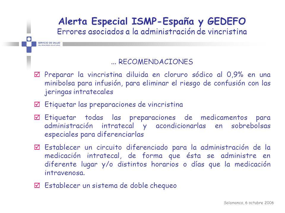 GEDEFO + ASHP Guidelines on Prevention Medication Errors with Antineoplastic Agents IX Congreso Nacional AEGRIS Salamanca, 6 octubre 2006