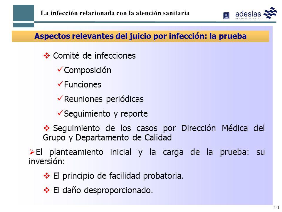10 La infección relacionada con la atención sanitaria Aspectos relevantes del juicio por infección: la prueba Comité de infecciones Composición Funcio