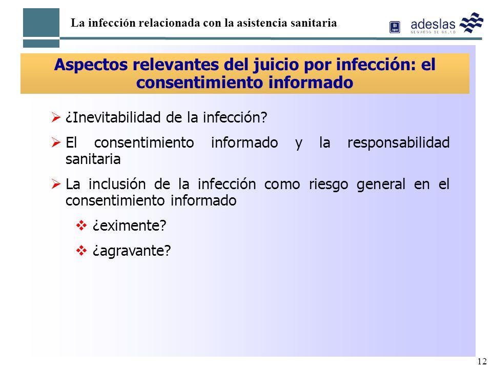12 La infección relacionada con la asistencia sanitaria Aspectos relevantes del juicio por infección: el consentimiento informado ¿Inevitabilidad de l