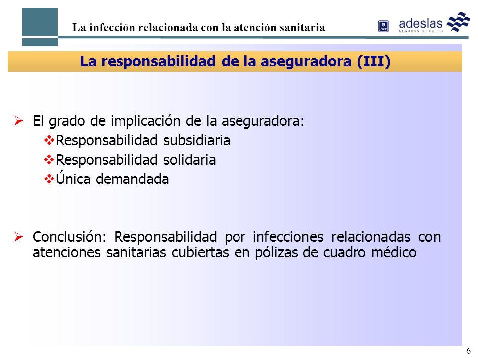 6 La infección relacionada con la atención sanitaria La responsabilidad de la aseguradora (III) El grado de implicación de la aseguradora: Responsabil