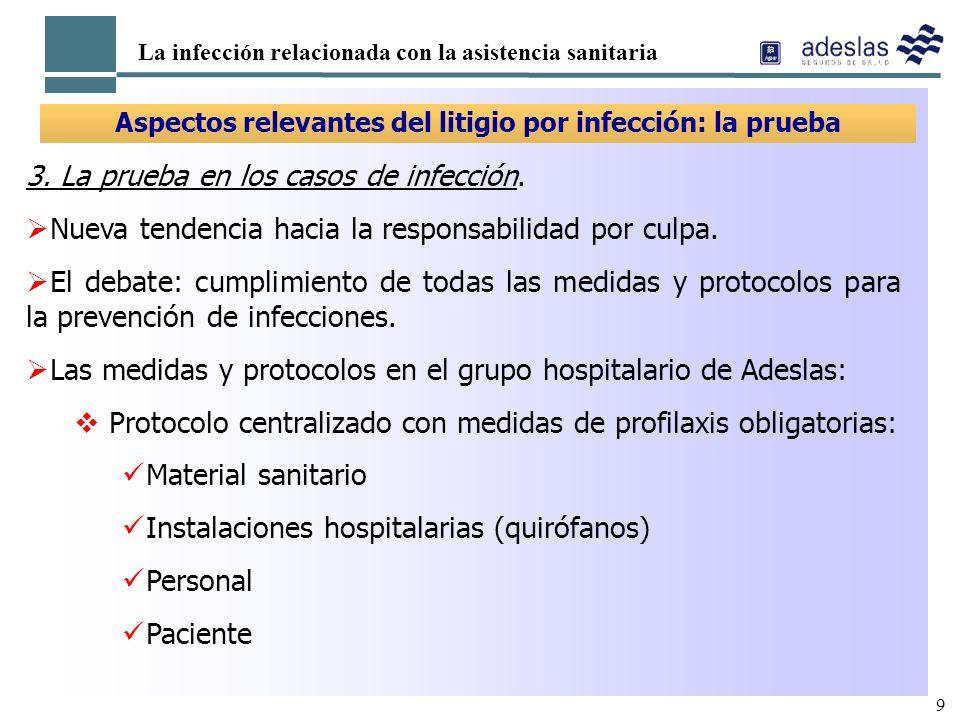 9 La infección relacionada con la asistencia sanitaria Aspectos relevantes del litigio por infección: la prueba 3. La prueba en los casos de infección