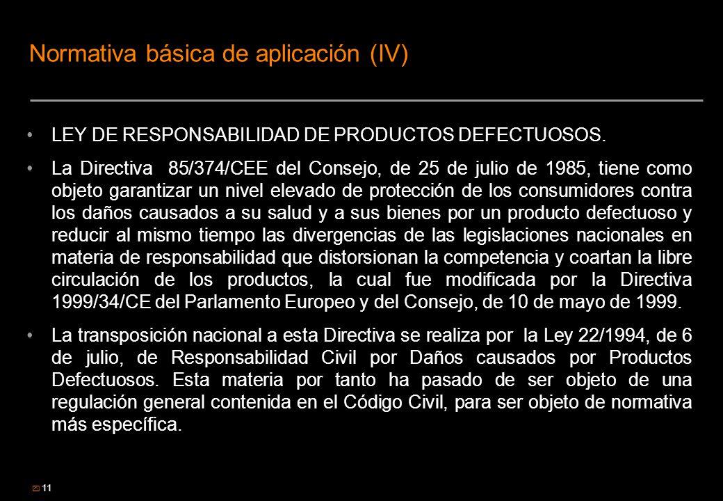 11 Normativa básica de aplicación (IV) LEY DE RESPONSABILIDAD DE PRODUCTOS DEFECTUOSOS. La Directiva 85/374/CEE del Consejo, de 25 de julio de 1985, t