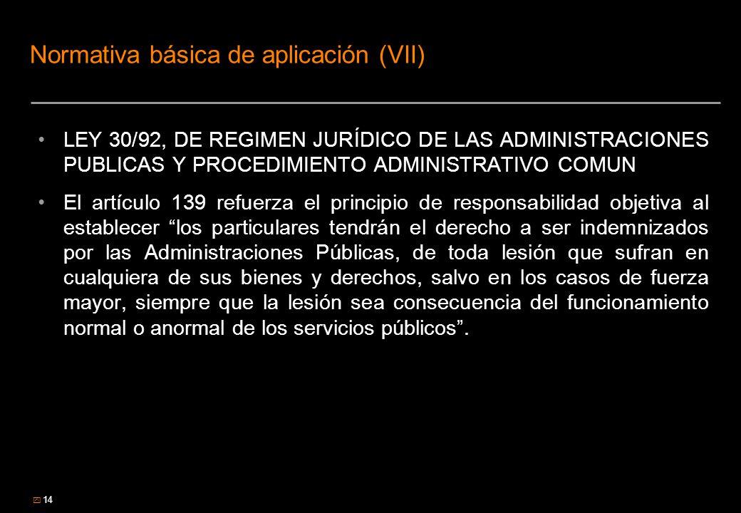 14 Normativa básica de aplicación (VII) LEY 30/92, DE REGIMEN JURÍDICO DE LAS ADMINISTRACIONES PUBLICAS Y PROCEDIMIENTO ADMINISTRATIVO COMUN El artícu